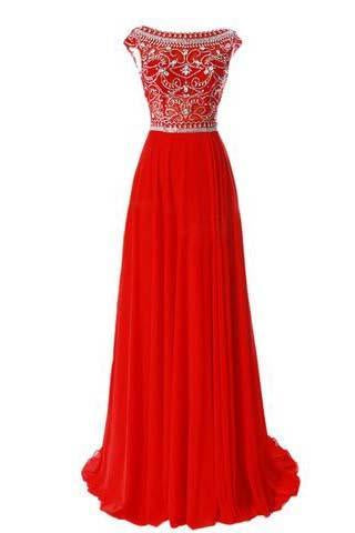 Red Long Chiffon Silver Beaded Chiffon Gown With Cap Sleeves Burgundy Prom Dresses JS766