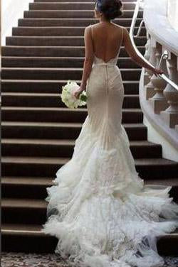 Backless White Lace Mermaid Spaghetti Straps Long Tulle Sexy Open Back Dress For Bridal JS284