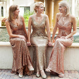 Stunning Mermaid Sequin Halter V Neck Backless Sweep Train Bridesmaid Dress