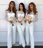 Chic Lace & Chiffon Off The Shoulder Long Sleeves Jumpsuit Bridesmaid Dresses, Wedding Party Pants