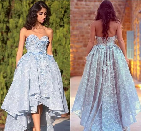 Unique Lace Sweetheart High Low Ball Gown Prom Dresses For Teens Graduation Dresses H1231
