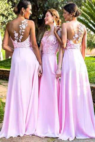 Elegant A Line Chiffon One Shoulder Pink With Flowers Bridesmaid Dresses