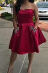 Simple Strapless Cute Cheap Beaded Red Sleeveless Homecoming Dresses with Pockets JS702