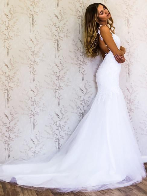 White Lace Mermaid Sweetheart Tulle Spaghetti Straps Backless Affordable Wedding Dresses JS778