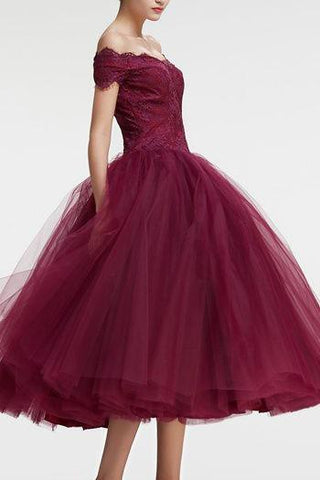 Vintage Princess Off the Shoulder Tea Length Ball Gown Scoop Burgundy Homecoming Dress SME860