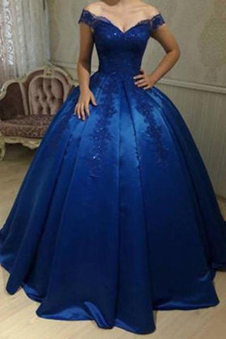 Unique Royal Blue Off Shoulder Lace Sweetheart Appliques Long Ball Gown Prom Dresses JS463