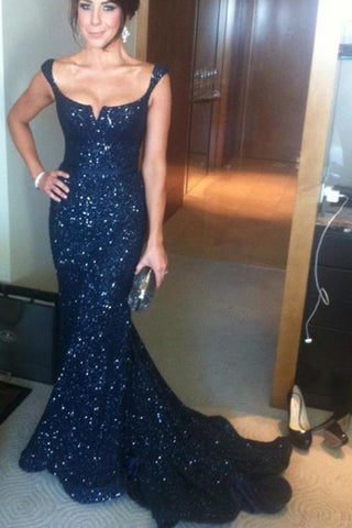 Gorgeous Mermaid Off-the-Shoulder Lace Navy Blue Sequins Sweetheart Prom Dresses SME600