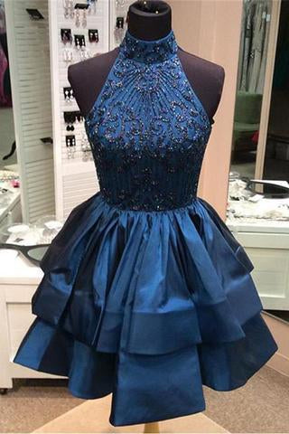 Pretty A-line High Neck Above-knee Beaded Dark Blue Backless Short Homecoming Dresses JS165