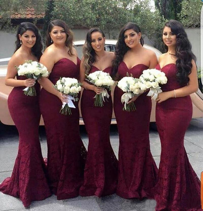 Burgundy Sweetheart Strapless Lace Mermaid Cheap Long Prom Dress Bridesmaid Dresses JS13