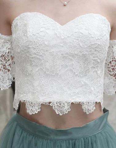 White Lace Tulle Two Pieces Off Shoulder Short Sleeve Short Prom Dress Homecoming Dress JS454