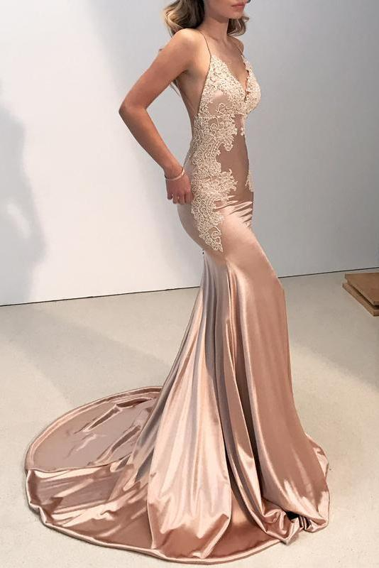 Sexy Backless V Neck Lace Spaghetti Straps Mermaid Open Back Long Prom Dresses JS116