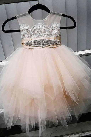 A-Line Tulle Beads Appliques Scoop Blush Pink Button Cap Sleeve Flower Girl Dresses SME888