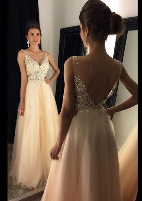 Sparkly V Neck Prom Dress Sexy Backless Evening Dress Tulle Long Prom Gown JS120