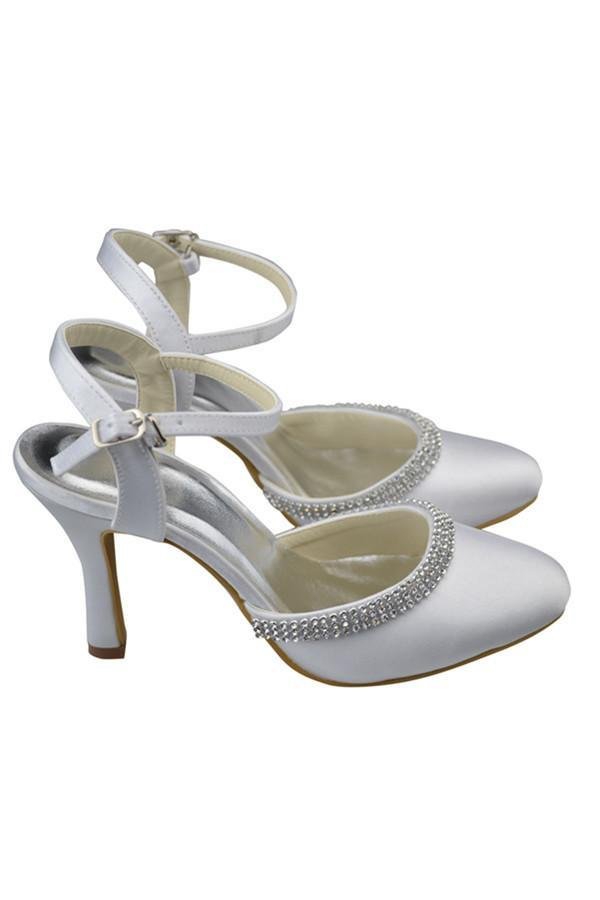 Ankle Strap Beading High Heel White Comfy Satin Shoes JS0001