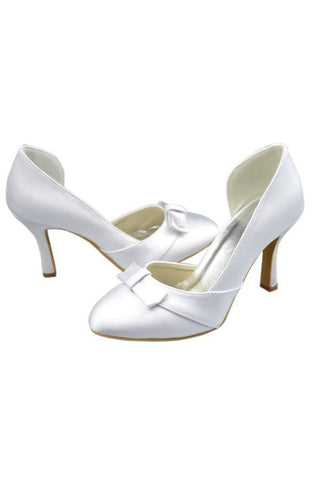 Classy White Close Top Handmade Nice wedding Shoes SME0003