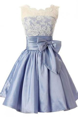Fashion A-line Scoop Short Taffeta Blue Homecoming/Bridesmaid Dress With Bowknot JS478