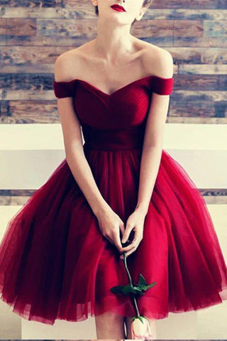 A Line Burgundy Off the Shoulder Tulle Sweetheart Cocktail Dress Homecoming Dresses SM639