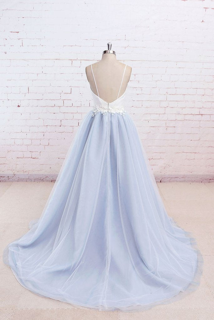 Simple A-Line Light Blue Sweetheart Spaghetti Straps Chic Blue Tulle Backless Prom Dresses JS187