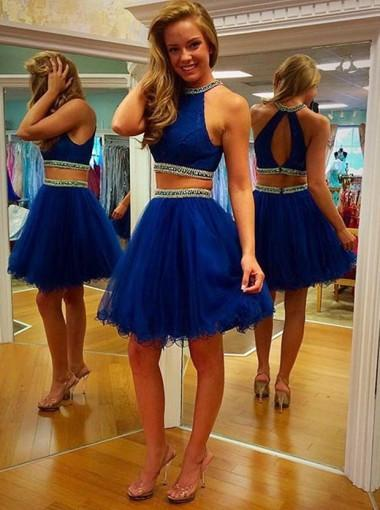 Two Piece Scoop Short Tulle Backless Royal Blue Cocktail Homecoming Dress with Beaded JS455