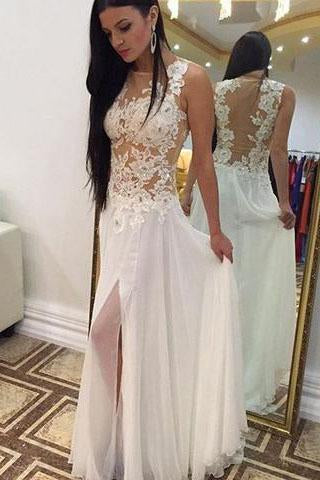 Sexy A-line Crew Floor-Length Chiffon Sleeveless Beaded Appliques White Prom Dresses JS661