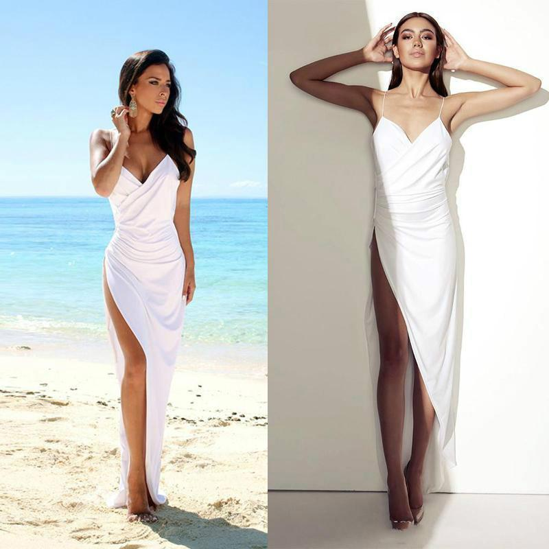 Simple Sexy Open Back Beach Side Slit Spaghetti Straps Summer White Wedding Dresses JS22