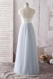 Simple A Line Spaghetti Straps Gray Sweetheart Ivory Lace Blue Tulle Prom Dresses JS608