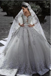 Sexy Ball Gown Sweetheart Long Sleeve Lace Appliques Tulle Long Wedding Dresses JS70