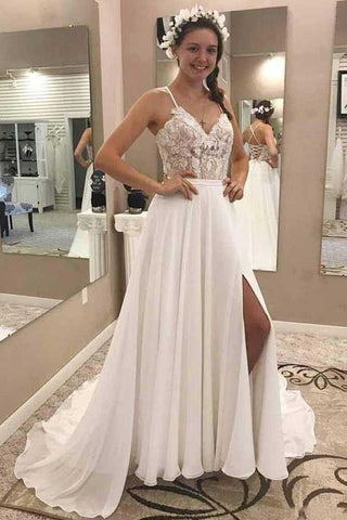 A Line V Neck Open Back Chiffon Ivory Lace Long Lace up Wedding Dresses with Appliques SME968