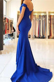 Royal Blue Long Mermaid Off the Shoulder Sweetheart Satin Pretty Prom Dresseses JS90