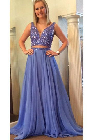 Elegant A Line Two Piece Blue V-Neck Beads Chiffon Evening Prom Dresses JS790