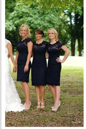 Lace Short Open Back Cheap Navy Blue Cap Sleeve Mermaid Bridesmaid Dresses JS122