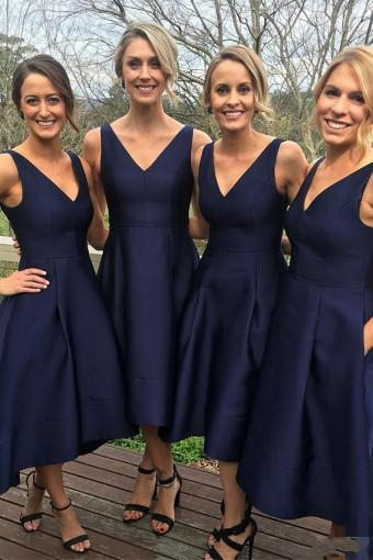 Elegant A-Line V-Neck Sleeveless Hi-Low Navy Blue Satin Bridesmaid Dress JS92