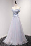 Sky Blue A-Line Off-the-Shoulder Floor-Length Tulle Prom Dresses with Appliques Lace JS955