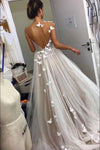 A Line Gray Tulle Open Back Butterfly Sleeveless Long Party Dresses Prom Dresses SM10