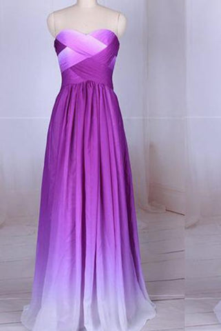 Simple Purple Strapless Sweetheart A-Line Chiffon Ombre Backless Prom Dresses UK JS364