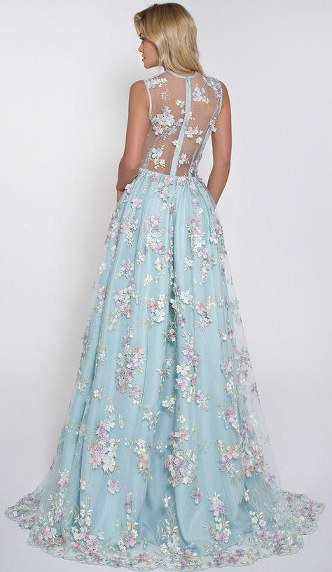 Hot Selling Deep V-neck Light Sky Blue Prom Dress with Flowers JS547