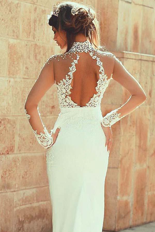 Long Sleeve Mermaid High Neck Lace Appliques Open Back Ivory Long Wedding Dresses JS145