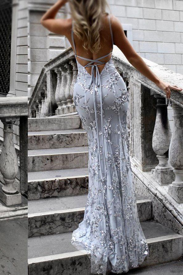 Sexy V-Neck Spaghetti Straps Grey Mermaid Sequined Backless Sleeveless Evening Dresses JS239
