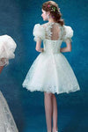 Princess Vintage Ivory Short Prom Dress Sweet 16 Cocktail Dress Graduation Dresses JS114
