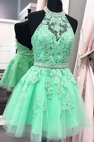 Sexy Halter Tulle Short New Arrival Appliques Cute Mini Homecoming Dress JS97