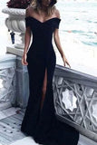 Sexy Leg Slit Long Off-the-Shoulder Jersey Sweetheart Mermaid Black Prom Dresses JS407