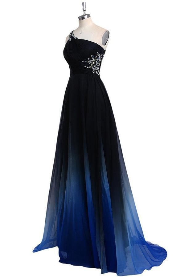 One Shoulder Blue and Black Chiffon A-Line Ombre Appliques Open Back Prom Dresses JS466