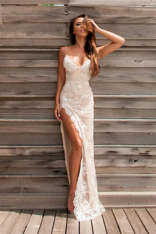 Spaghetti Straps Sweetheart Split Front Backless Lace Mermaid Appliques Prom Dresses UK JS493