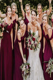 Bohemian A Line Chiffon Off The Shoulder Spaghetti Straps Burgundy Bridesmaid Dresses