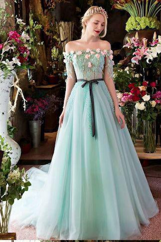 Princesses Romantic Summer Boho Off the shoulder Long Sleeve Blue Wedding Dresses JS546