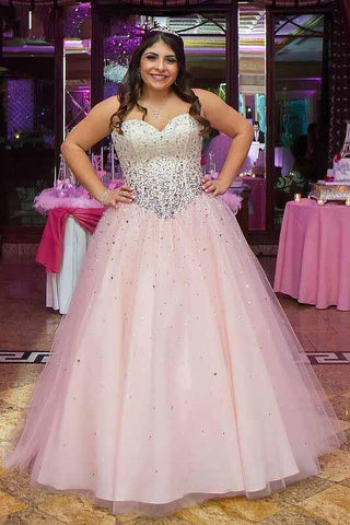 Strapless Ball Gown Beads Pink Sweetheart Plus Size Lace up Sleeveless Evening Dresses SME886