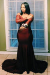 Mermaid Off the Shoulder Long Sleeve Appliques Sweetheart Plus Size Prom Dresses JS162