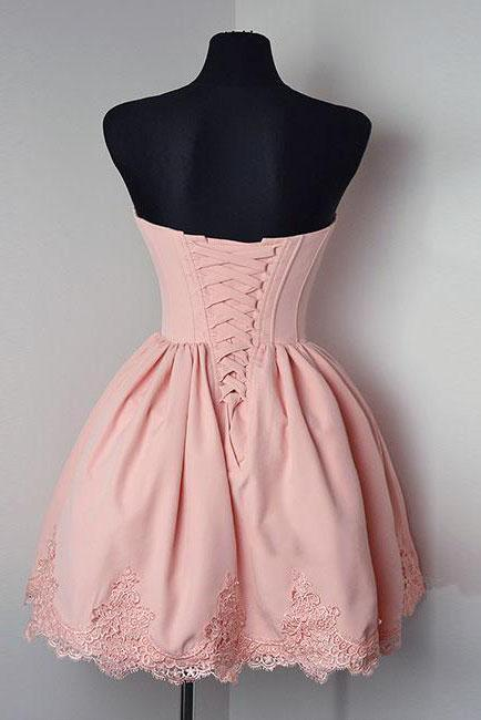 Strapless Sweetheart Short Pink Ball Gown Cute Mini Open Back Homecoming Dress JS169