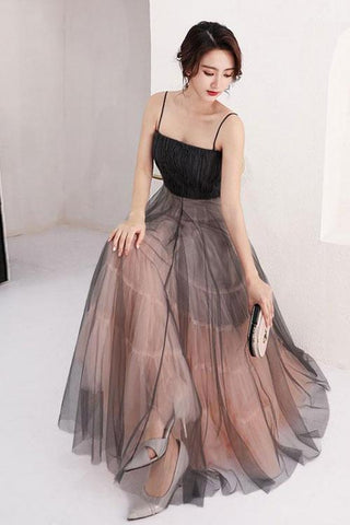 A Line Scoop Spaghetti Straps Black Tulle Prom Dresses Long Evening Dresses JS824