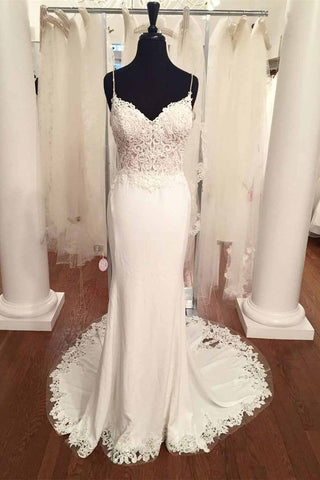 Spaghetti Strap V-Neck Vintage Lace Mermaid Backless Appliques Jersey Beach Wedding Dress JS882
